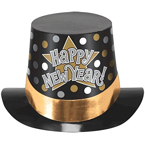[Amscan Rocking New Year's Party Stars & Dots Top Hat Accessory, Black, 6