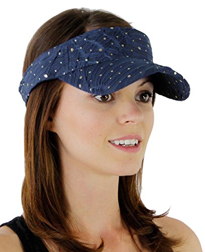 Glitter Sequin Visor for Ladies, Navy Navy Glitter