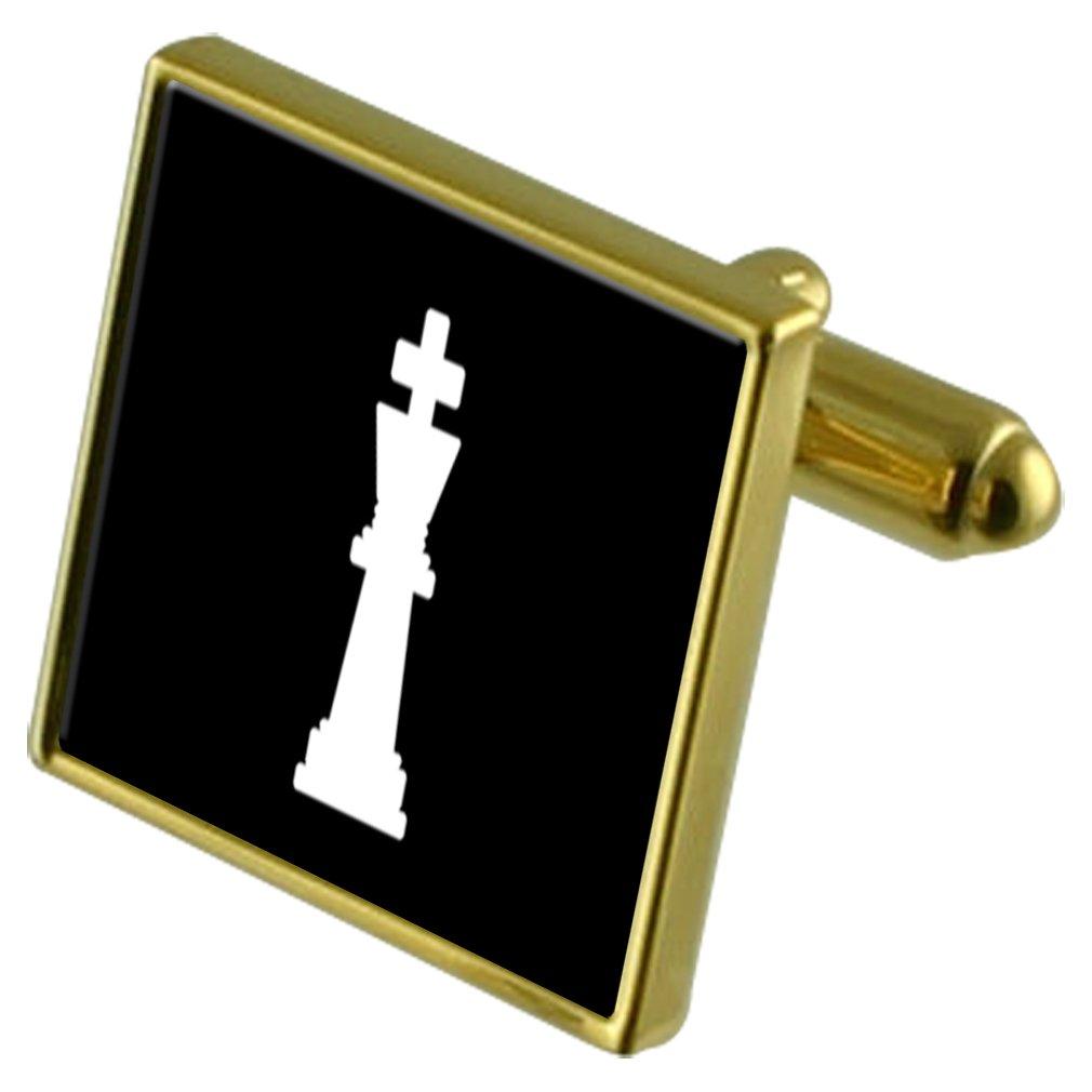 Rey de ajedrez de Tono Oro Gemelos Crystal Gift Set Clip de ...