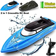 SZJJX 2 in 1 RC Boat, Remote Control Racing Boats for Pools and Lakes Pond Garden, 10km/H 2.4G Mini Speed Boat
