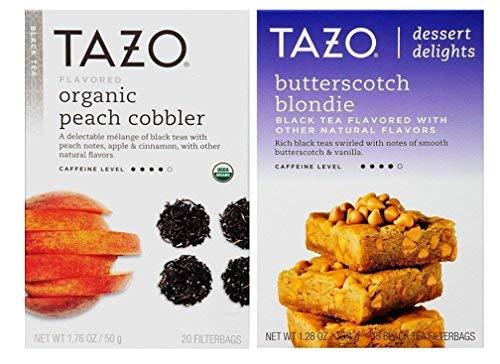 Tazo Dessert Inspired Flavored Tea 2 Flavor Variety Bundle, (1) each: Organic Peach Cobbler and Butterscotch Blondie (1.28-1.76 Ounces)