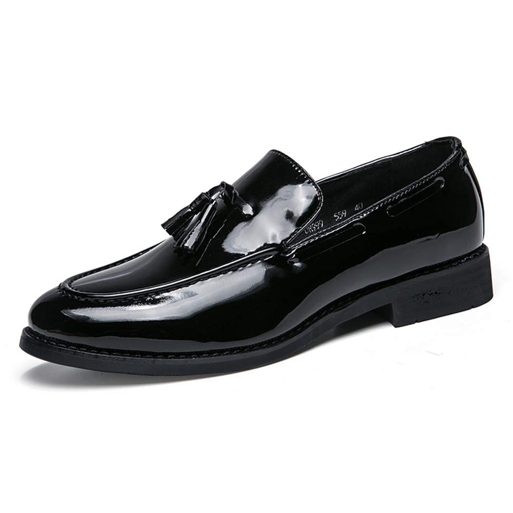 Hilotu Clearance Men's Business Oxford Casual Tassel Patent Leather Slip-on Loafer Round Toe Thick Bottom Dress Shoes (Color : Black, Size : 8 D(M) US)