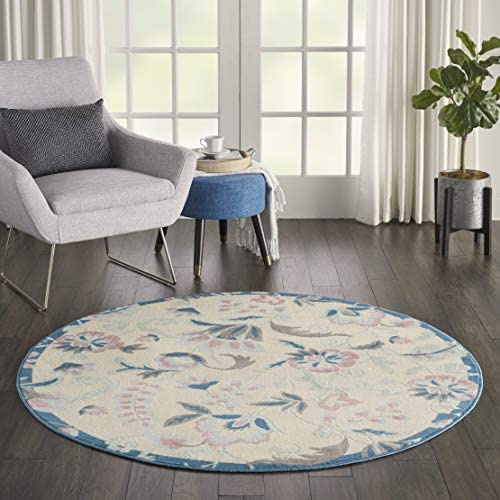Nourison Jubilant Floral Casual Ivory/Multicolor Area Rug 5'XROUND