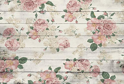 (AOFOTO 8x6ft Vintage Floral Wooden Plank Backdrop Retro Wood Board with Peony Pattern Photography Background Backdrop Mother Lady Girl Kid Woman Portrait Wedding Birthday Party Photoshoot Studio Props)