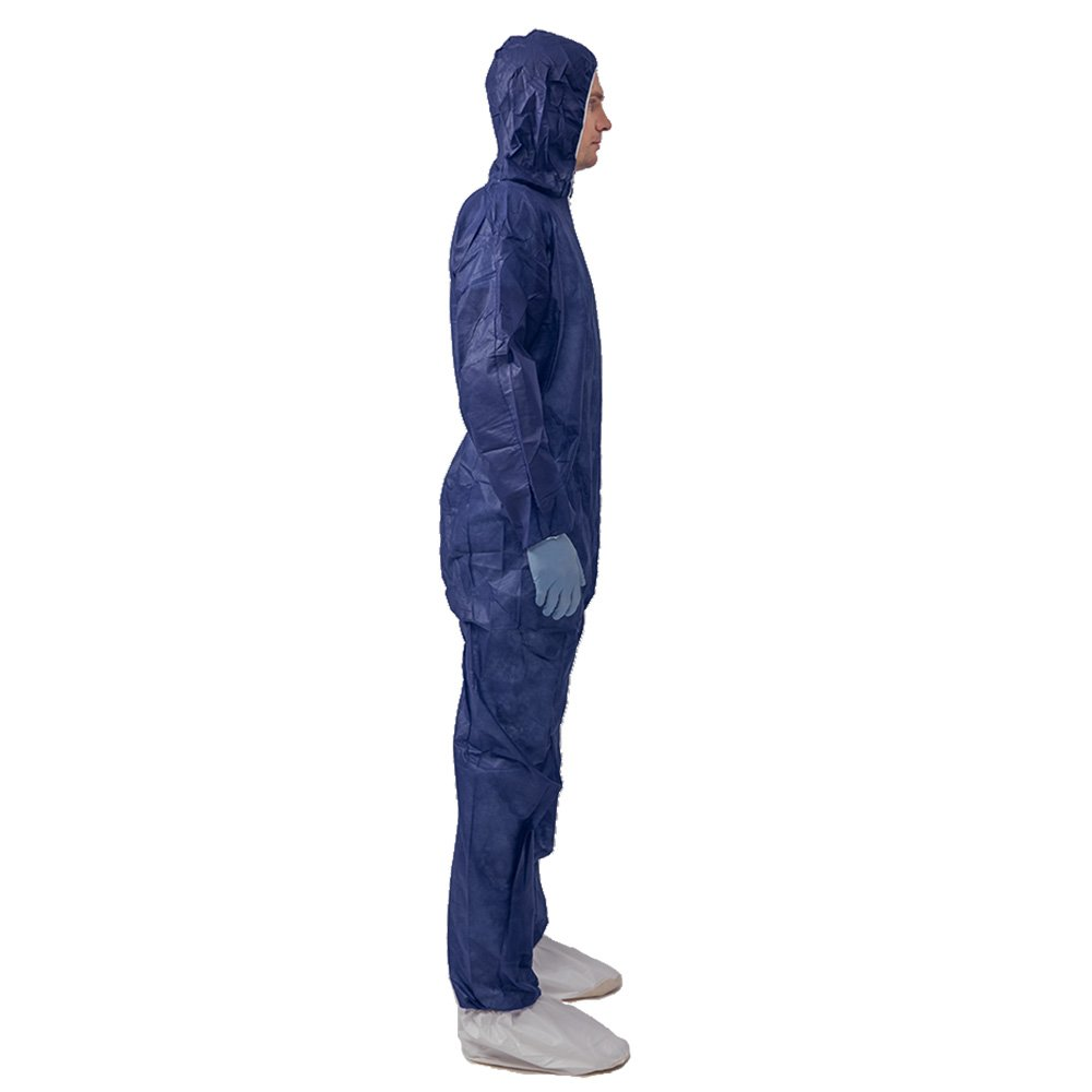 5 Pack Polypropylene PP Disposable Hooded Coveralls Light Duty Suit with Elastic Cuff Ankle and Waist (Large, Dark Blue) by Vicogard (Image #2)