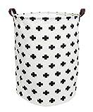 ESSME Large Laundry Hamper Waterproof Coating Canvas Fabric Storage Basket-Toy Organizer, Baby Nursery Hamper19.7×15.7''(plus sign)
