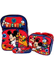 Mickey Mouse Disney Large 16 Backpack Book Bag, Lunch Box & Pencil Case Set