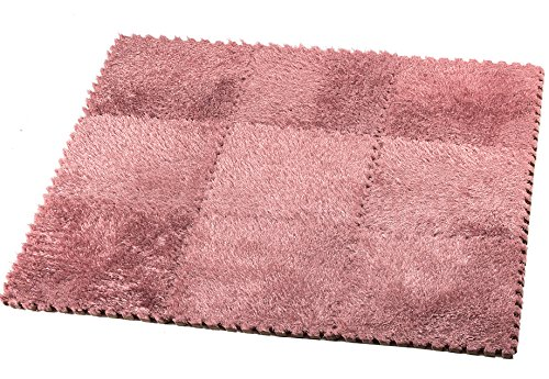 HemingWeigh Fuzzy Area Rug - 9 Fluffy Carpet Tiles for Kids - Ideal for Nursery Décor, Baby Room, Playroom and Kids Room. Plush, Velvet-like Texture, Anti-slip & Durable Rug (Pink)