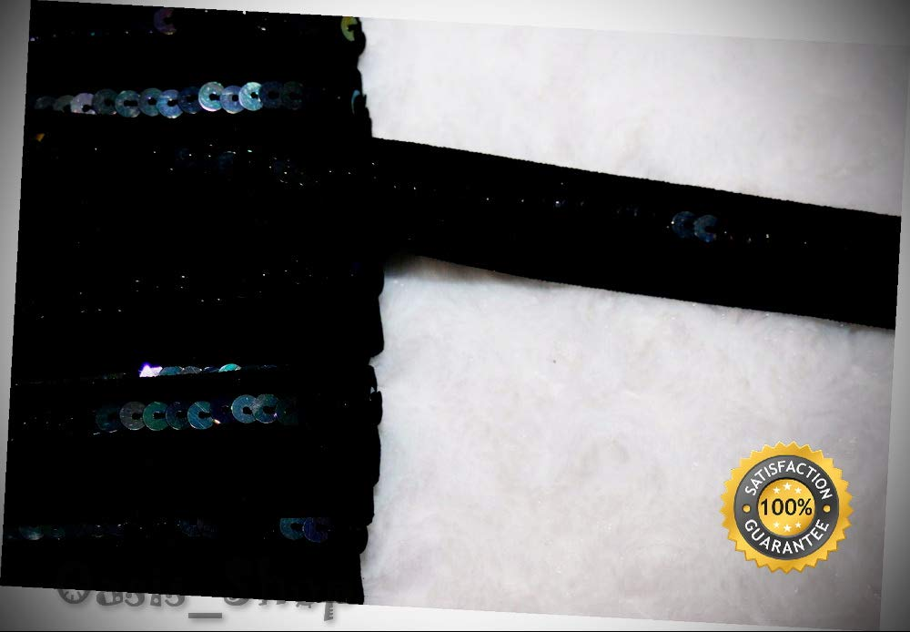 19+ Yards Black Foldover Elastic FOE Iridescent Sequins 3/4'' Wide - Ribbon Lyrical Dance Costumes, Sashes, Headbands by Oasis_Shop