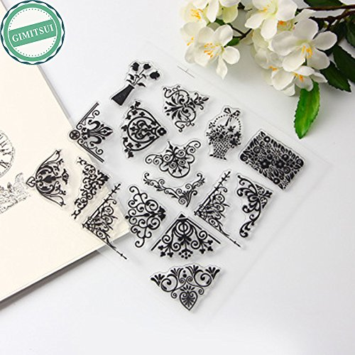 GIMITSUI Store Clear Silicone Stamps Set Lace Corner Elements for Scrapbooking Photo Album Cardmaking Journal Paper Card Craft Diary Notebook (14x15cm)