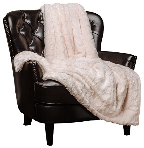 Chanasya Faux Fur Throw Blanket | Super Soft Fuzzy Light Weight Luxurious Cozy Warm Fluffy Plush Hypoallergenic Blanket for Bed Couch Chair Fall Winter Spring Living Room (60