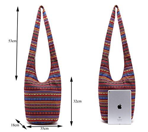 Handmade Shopping Crossbody Sling bag Red Messenger Thai Hipster Bag Top Bag Light Zip Hobo Bag ZIIPOR gWBq8wfq
