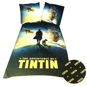 Tintin Globe DBO - Juego de funda nórdica (algodón, funda nórdica de 200 x 140 cm, 2 fundas de almohada), diseño de Tintín