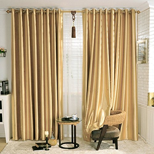 KoTing Blackout Golden Curtain Drape for Bedroom 1 Panel Gorgeous Solid Gold Curtain Grommet Top Drapes 84 inch Long 42 (Curtain Gold)