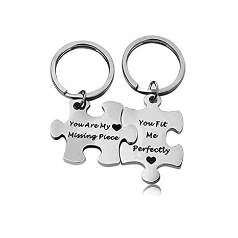 QICI Llavero Pareja Llaveros de Regalo de Plata (You Are My Missing Piece) (You fit Perfectly) (1)