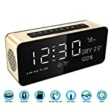 """Soundance Alarm Clock FM Radio Bluetooth Speaker with HD Sound 9.4"""" LED Digital Display of Time Date Temperature, iPhone Android Aux MicroSD TF USB Support, Wireless for Office Bedroom Home, A10 Gold"""