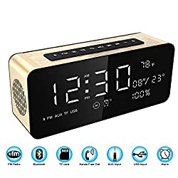 Soundance Electric Digital LED Alarm Clock Wireless FM Radio Portable Bluetooth Speaker with USB Built-in Microphone for Bedroom Bedside Office Desk iPhone Android PC Laptop Desktop Computer, A10 Gold
