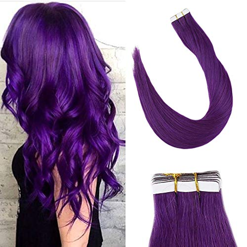 LaaVoo 18inch Double Side Tape ins Human Hair Extensions in Purple Color Skin Weft Dip Dye Colorful Cool Colors Effect PU Tape on Straight Hair