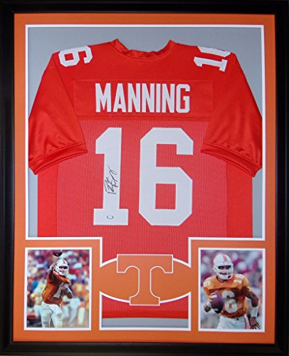 Peyton Manning Tennessee Volunteers Autograph Signed Custom Framed Jersey T Logo Steiner Sports Certified (Signed Peyton Manning Jersey)