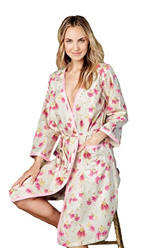 BedHead Pajamas Pink Star Catchers Sateen Ribbon Trim Robe 1035-CI7-6168 (S/M)