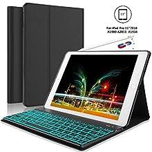 iPad Pro 11 Inch Keyboard Case for iPad Pro 11 2018, 【Support Pencil Charging】 iPad Pro 2018 Leather Wireless Bluetooth Keyboard, Auto Wake/Sleep, Black