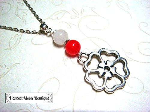 Tudor Rose Red and White Charm Necklace Elizabethan Anne Boleyn King Henry VIII Jewelry