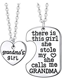 Grandma's Favorite Girl Pendant Necklace - 2x20'' Chain + 2 Necklace Pendants Best Gift with a Gift Pouch - with Inspirational Message Text
