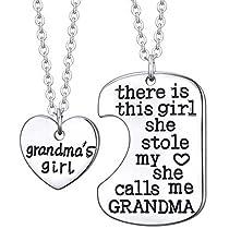 Grandmas Girl Heart Pendant Necklace - Grandma Necklace Set - Best Family Gift