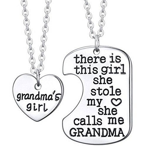 Grandmas Girl Pendant Necklace - 2x20'' Chain + 2 Necklace Pendants - Best Family Gift