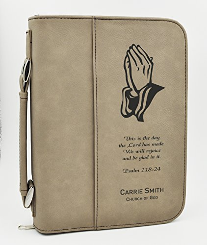 Custom Bible Cover | Praying hands Psalms Scripture | Personalized Bible Cover | Confirmation Gift | First Communion Gift (Light (Scripture Cover)
