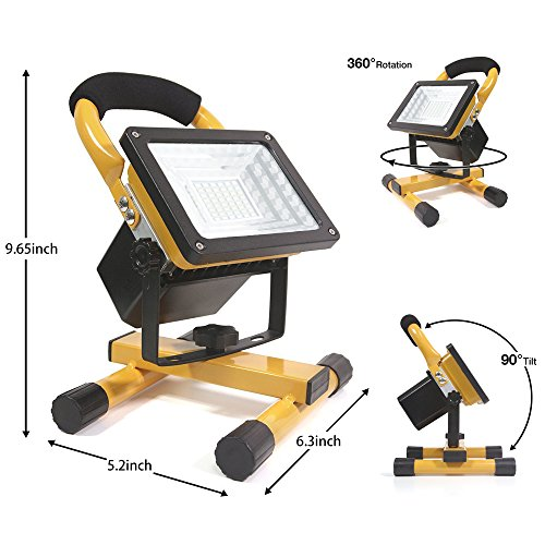 [30W 36LED]Lanfu Portable Waterproof LED Work Light Spotlights Outdoor Camping Fishing Car Repairing Lighting, Built-in Rechargeable Lithium Batteries (with 2 USB Ports and SOS Modes-IP65) by Lanfu (Image #2)