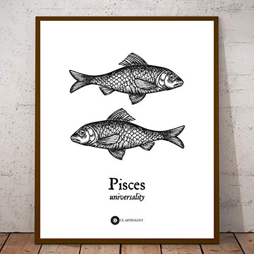 (Pisces, Astrological Sign Wall Decor Print - Black and White)