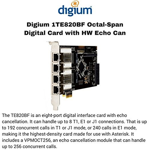 Digium 1TE820BF Eight [8] Span Digital T1/e1/j1/pri Pci-express Card And Hw Echo Can by Digium