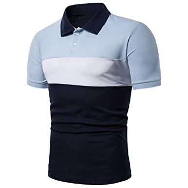Camisa Estampada Rayas Camiseta Manga Corta Hombre Polo: Amazon.es ...