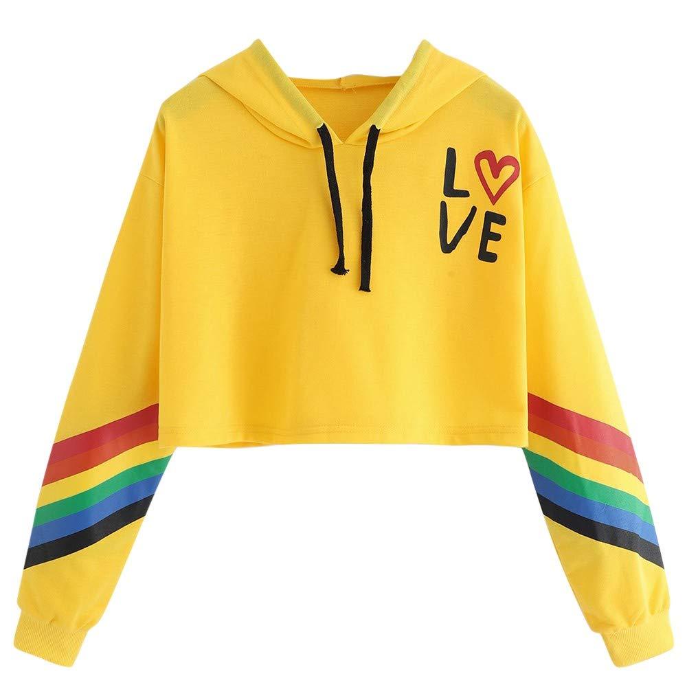 Longra ❤ ❤ L❤ve Rainbow Letter Imprimir Sudadera Blusa Tops Sudadera con Capucha Pullover: Amazon.es: Ropa y accesorios