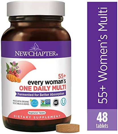 New Chapter Multivitamin for Women 50 Plus – Every Woman s One Daily 55 with Fermented Probiotics Whole Foods Astaxanthin Organic Non-GMO Ingredients -48 ct Packaging May Vary