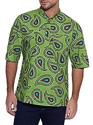 Shalinindia Men Cotton Printed Short Kurta Mandarin Collar ,Green,Size-34 Inch