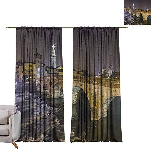 Blackout Curtain Panels Landscape,Ponte Pietra on River Adige Ancient Roman Bridge in The Old Town of Verona Italy, Black Beige W96 x L108 Art Grommet Window Drapes