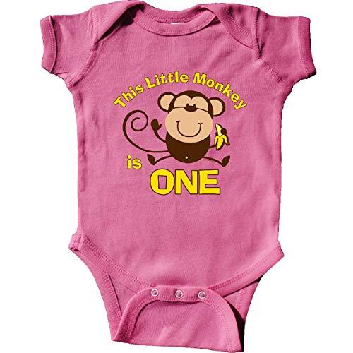 inktastic - Little Monkey 1st Birthday Infant Creeper 18 Months Raspberry 366b