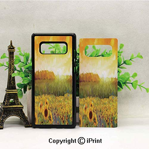 Compatible with Samsung Galaxy Note 8 Landscape Art with A Golden Sunflower Field and Distant Hill at Sunset Warm Colors Resistant Protective Case TPU Bumper,Orange Yellow ()
