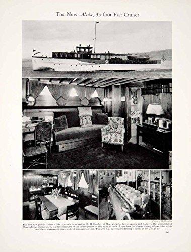 1928 Print Alida 95ft Cruiser Yacht Ship Interior Boat Nautical Marine Sea YYM2 - Original Halftone Print - 95' Wall
