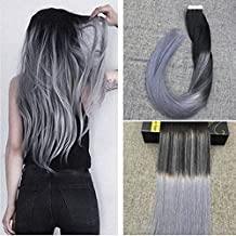 "Ugeat 18"" 40Pcs Full Head Tape in Real Human Hair Extensions Silver Ombre Color Balayage Color Hair Extensions Off Black Color Fading to Silver Seamless Tape in Extensions Human Hair"