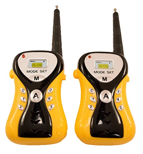 - TukTek Kid's First Yellow Walkie Talkies Toy 2 Way Radio Pair for Home Fort & Outside Play 100 Yard Range