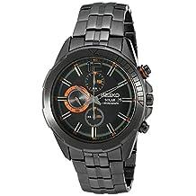 Seiko Men's SSC383 RECRAFT Solar Chrono Analog Display Japanese Quartz Black Watch