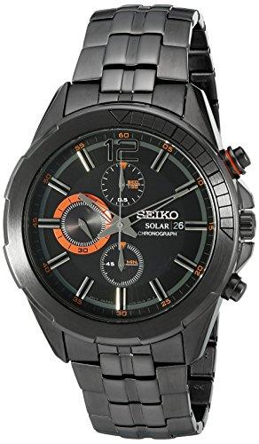 (Seiko Men's SSC383 RECRAFT Solar Chrono Analog Display Japanese Quartz Black Watch)