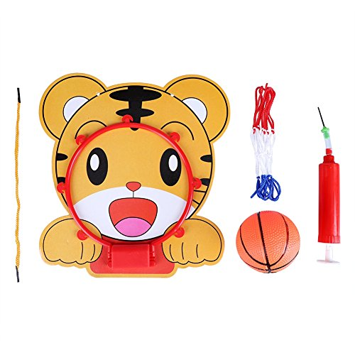 Netball System - eecoo Indoor Adjustable Hanging Basketball Netball Hoop, Cute Cartoon Animal Shape Children Child Kids Mini Basketball System Toy Gift Set Includes Ball Pump Hoop, 5 in 1(Tiger)