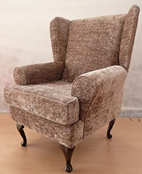 Mink Chenille Queen Anne Design Wing Back Fireside High Back Chair. Ideal  Bedroom Or Living Part 75