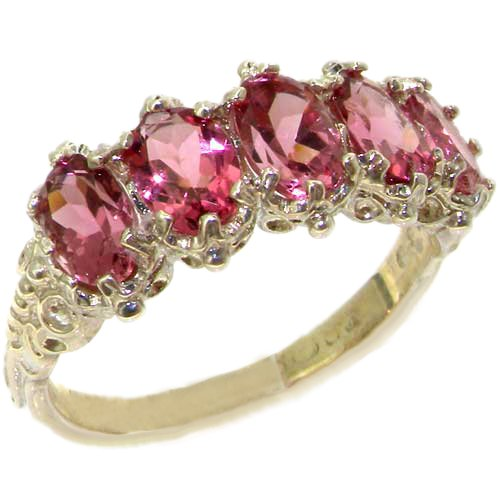 925 Sterling Silver Real Genuine Pink Tourmaline Womens Eternity Ring - Size 7