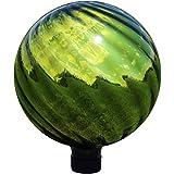 Sunnydaze Green Rippled Mirrored Surface Gazing Globe Ball, 10-Inch