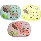 Pink / Cartoon animals Design Baby sleeping Positioner Pillow for Prevent Flat Head, Super Comfortable Soft Cotton&Velvet toddler Protective Sleep Pillow for Anti-roll